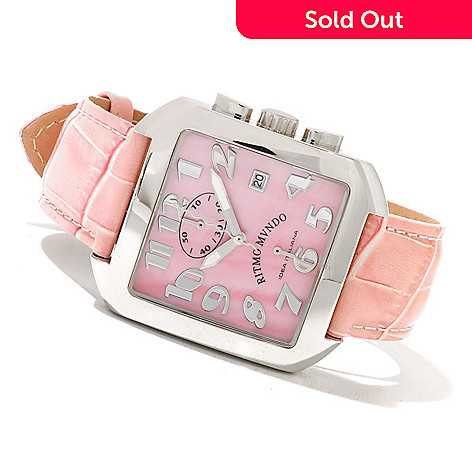 620-760 - Ritmo Mundo Women's Piazza Quartz Chronograph Mother-of-Pearl Dial Leather Strap Watch