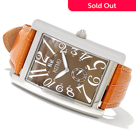 620-761 - Ritmo Mundo Men's Gran Data Swiss Made Quartz Leather Strap Watch