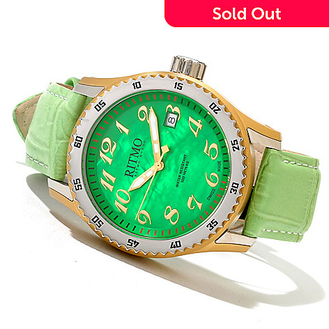 620-764 - Ritmo Mundo Women's Extreme Swiss Made Quartz Mother-of-Pearl Dial Leather Strap Watch