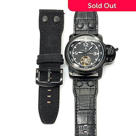 620-820 - Constantin Weisz Men's Automatic Open Heart Leather Strap Watch w/Extra Strap & Box
