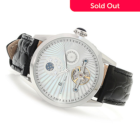 620-823 - Constantin Weisz Men's Automatic Mother-of-Pearl Leather Strap Watch