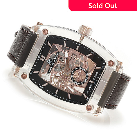 620-835 - Constantin Weisz Rounded Rectangular Mechanical Skeletonized Leather Strap Watch