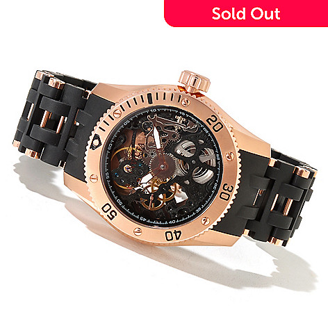 620-844 - Invicta Men's Sea Spider Mechanical Skeleton Dial Polyurethane & Stainless Steel Bracelet