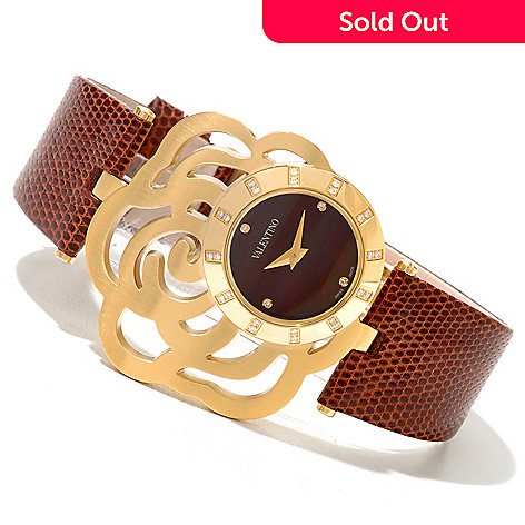 620-874 - Valentino Women's Rosier Swiss Made Quartz Diamond Accented Lizard Strap Watch