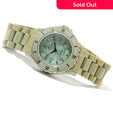 620-879 - Oniss Women's Ceramica Fuerte Quartz Mother-of-Pearl Ceramic Bracelet Watch