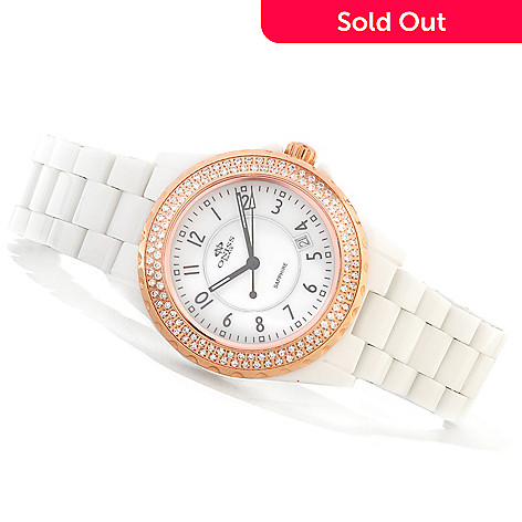 620-881 - Oniss Women's Bello Princess Quartz MOP Crystal Accented Ceramic Bracelet Watch