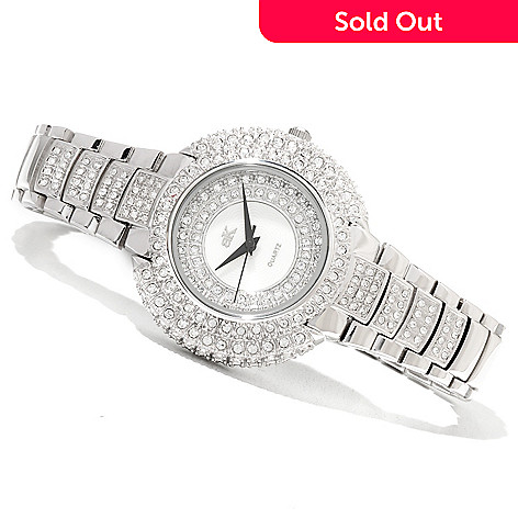 620-882 - Adee Kaye Women's Majesty Quartz Mother-Of-Pearl Dial Crystal Accented Bracelet Watch