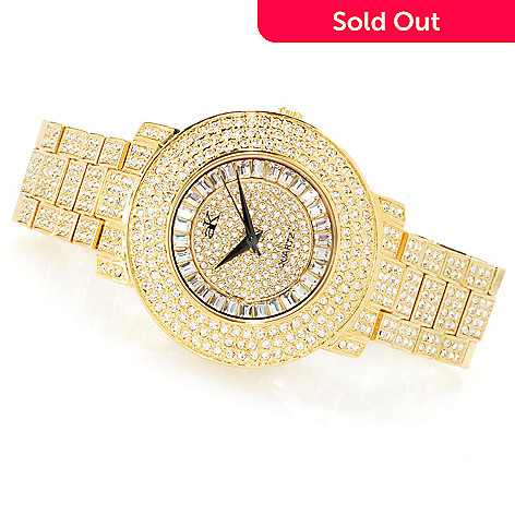 620-883 - Adee Kaye 43.5mm Crown Quartz Crystal Accented Bracelet Watch