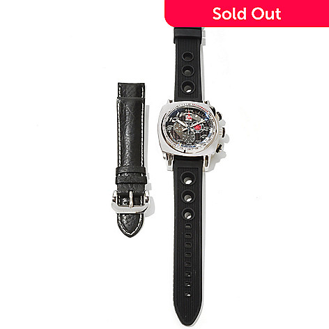 621-003 - Ritmo Mundo Men's Indycar Swiss Made Quartz Chronograph Rubber Watch w/ Extra Leather Strap
