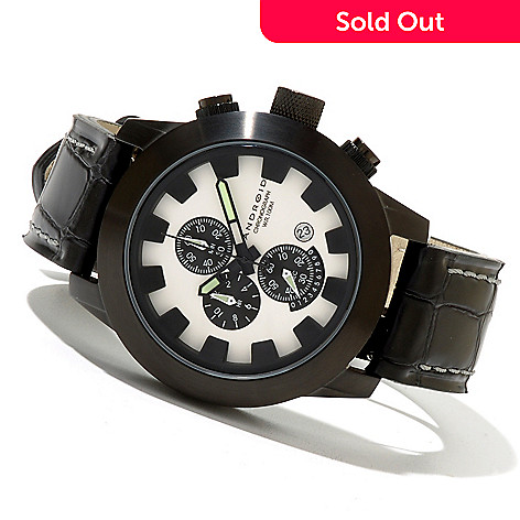 621-039 - Android Men's Antiforce Chrono 2 Quartz Chronograph IP Stainless Steel Leather Strap Watch