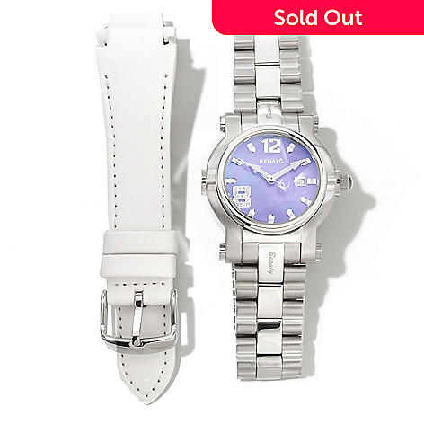 621-162 - Renato Women's Beauty Quartz Stainless Steel Bracelet Watch w/ Extra Strap