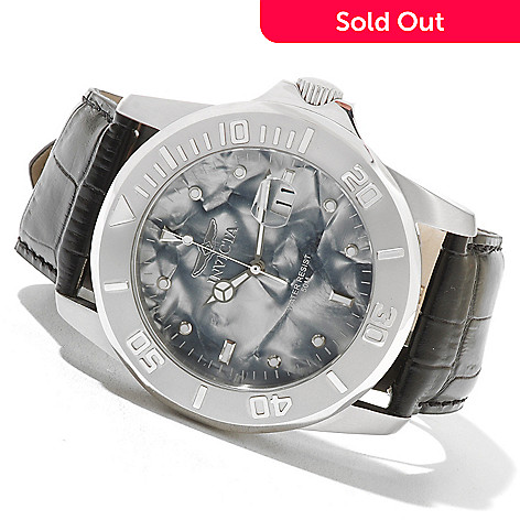 621-176 - Invicta Men's Pro Diver Quartz Pearlized Dial Stainless Steel Leather Strap Watch