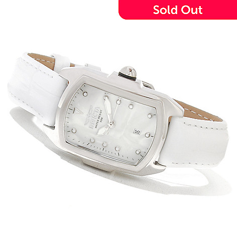 621-178 - Invicta Women's Baby Lupah Quartz Mother-of-Pearl Dial Stainless Steel Leather Strap Watch