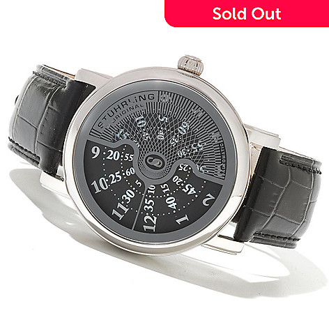 621-284 - Stührling Original Men's Eclipse X Automatic Leather Strap Watch
