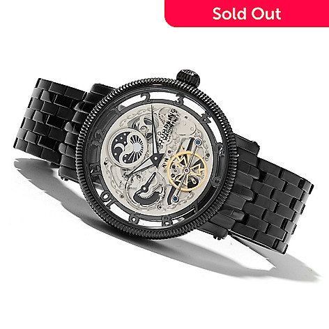 621-287 - Stührling Original Men's Tempest Elite Automatic Dual Time Stainless Steel Bracelet Watch