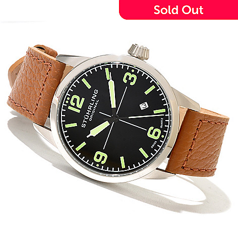 621-291 - Stührling Original Men's Tuskegee Classic Quartz Leather Strap Watch
