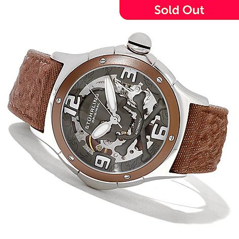 621-293 - Stührling Original Men's Alpine Reaper Automatic Skeletonized Leather Strap Watch