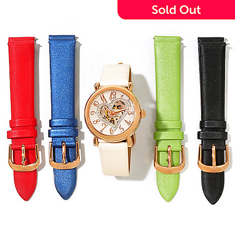 621-324 - Stührling Original Women's Cupid Automatic Strap Watch w/ 4 Extra Straps