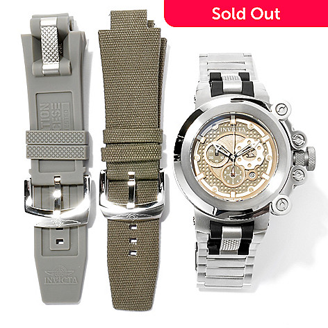 621-386 - Invicta Men's Coalition Forces Trigger Swiss Made Bracelet Watch w/ 3-Slot Dive Case & Extra Straps