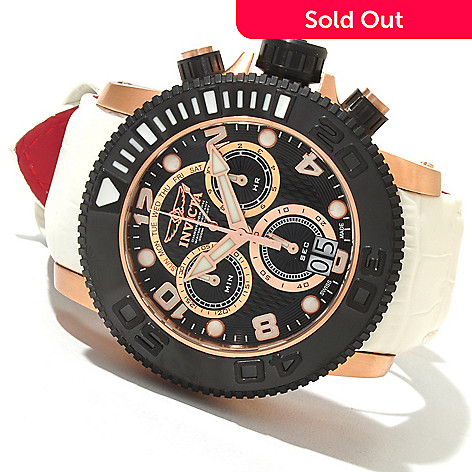 621-389 - Invicta Men's Sea Hunter Swiss Made Quartz Chronograph Stainless Steel Leather Strap Watch