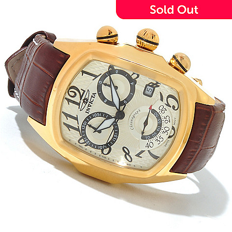 621-399 - Invicta Men's Dragon Lupah Swiss Made Quartz Chronograph Stainless Steel Leather Strap Watch