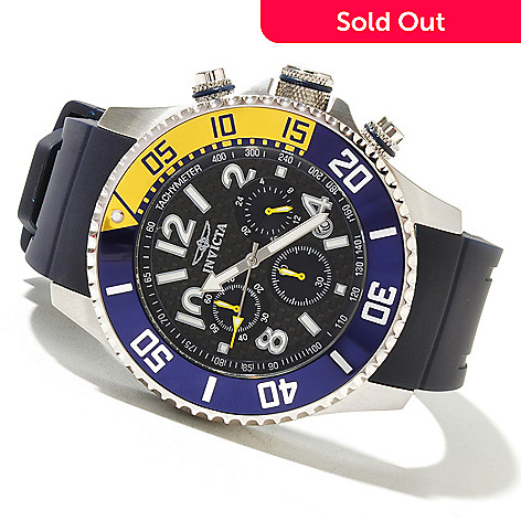 621-407 - Invicta 48mm Pro Diver Quartz Chronograph Carbon Fiber Dial Polyurethane Strap Watch