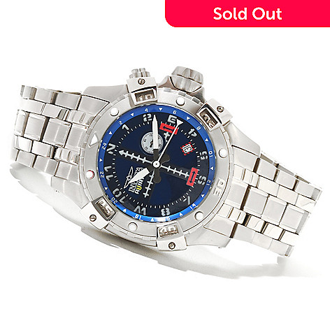 621-409 - Invicta Men's Flight Series Aviator Quartz GMT Stainless Steel Bracelet Watch