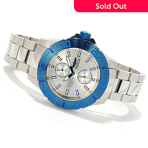 621-415 - Invicta 44mm Pro Diver Ocean Baron Quartz Stainless Steel Bracelet Watch w/ Eight-Slot Dive Case