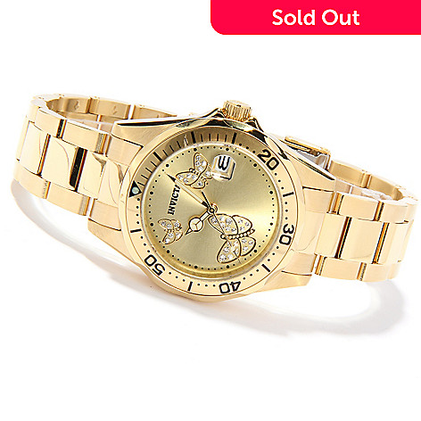 621-426 - Invicta Women's Pro Diver Butterfly Quartz Stainless Steel Bracelet Watch w/ 3-Slot Watch Box