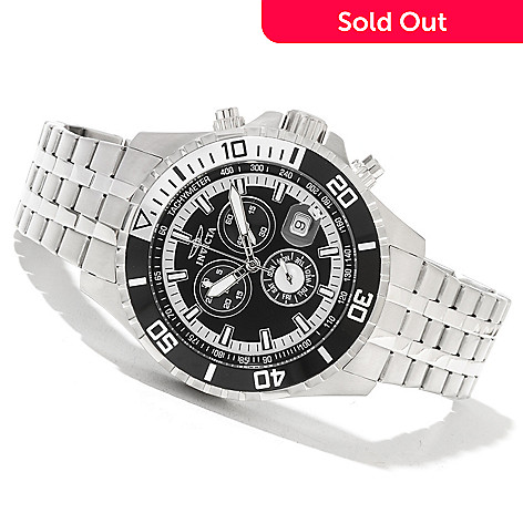 621-429 - Invicta Men's Pro Diver Quartz Chronograph Stainless Steel Bracelet Watch w/ Three-Slot Box