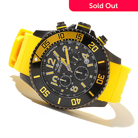 621-431 - Invicta Men's Pro Diver Quartz Chronograph Carbon Fiber Dial Polyurethane Strap Watch