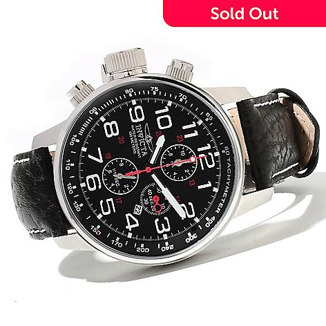 621-515 - Invicta Men's I Force Quartz Chronograph Leather Strap Watch w/ 3-Slot Dive Case