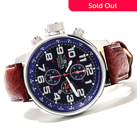 621-516 - Invicta Men's I Force Quartz Chronograph Leather Strap Watch w/ 3-Slot Dive Case