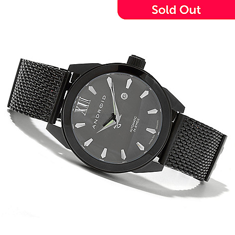 621-517 - Android Men's Vertigo 9015 Automatic Black Stainless Steel Bracelet Watch