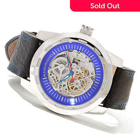 621-522 - Android Men's Caprice Automatic Skeletonized Leather Strap Watch