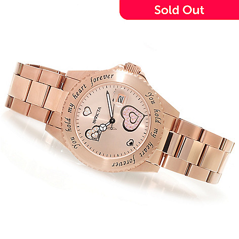 621-528 - Invicta Women's Angel Quartz ''Hold My Heart'' Crystal Accented Watch w/ Travel Box
