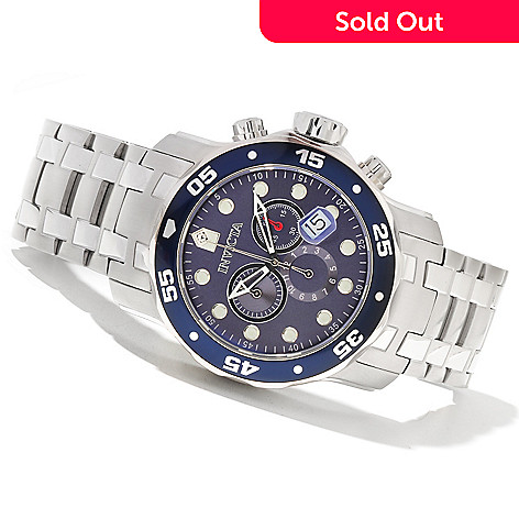 621-542 - Invicta Men's Pro Diver Scuba Quartz Chronograph Stainless Steel Bracelet Watch w/ 3-Slot Dive Case