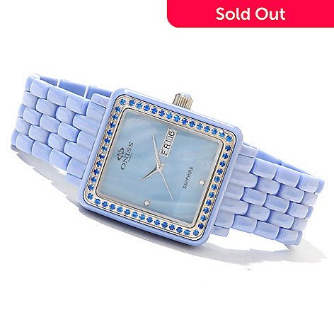 621-559 - Oniss Women's Finesse Quartz Mother-of-Pearl Austrian Crystal Accented Ceramic Bracelet Watch
