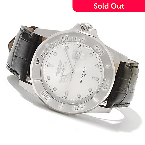 621-585 - Invicta Men's Pro Diver Quartz Stainless Steel Leather Strap Watch
