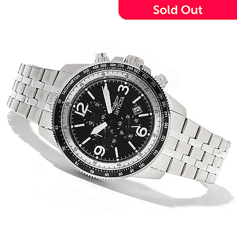 621-660 - Invicta Men's Specialty Aviator Quartz Chronograph Bracelet Watch w/ Three-Slot Dive Case