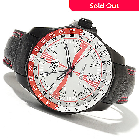 621-668 - Vostok-Europe 46mm Radio Room Limited Edition Russian Automatic Dual Time Leather Strap Watch
