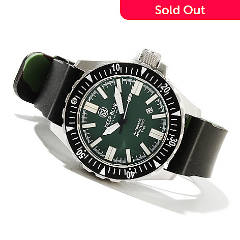 621-703 - Deep Blue Men's T-100 Tritium Military Diver Automatic Stainless Steel Silicone Strap Watch