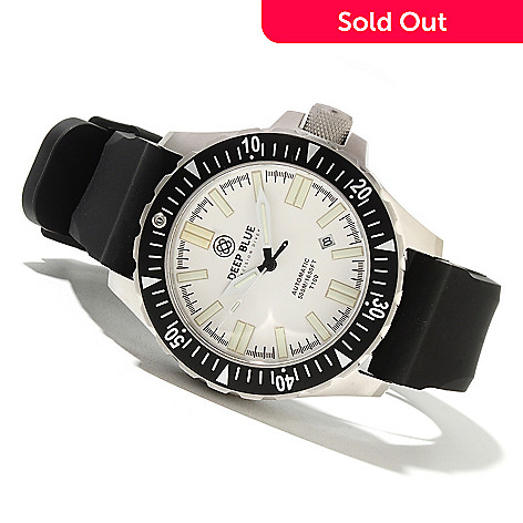 621-705 - Deep Blue Men's T-100 Tritium Military Diver Automatic Stainless Steel Silicone Strap Watch