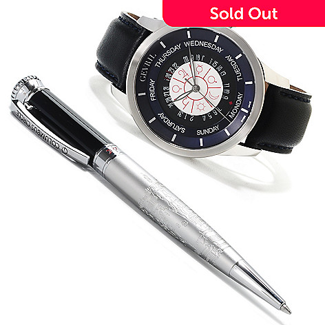 621-714 - Gevril 45mm Columbus Circle Limited Edition Swiss Made Automatic Leather Strap Watch w/ Pen