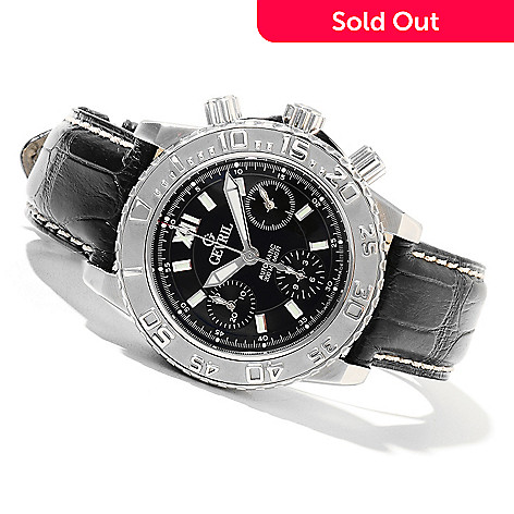 621-718 - Gevril Men's Sea Cloud Limited Edition Swiss Made Automatic Chronograph Leather Strap Watch