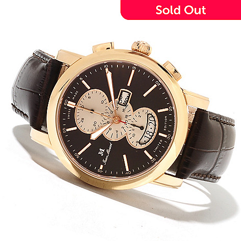 621-740 - Jean Marcel Men's Clarus Limited Edition Swiss Made Automatic Chronograph Leather Strap Watch