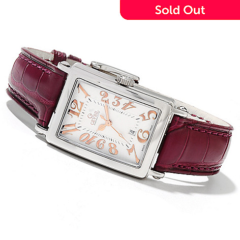 621-744 - Gevril Women's Avenue of America's Mini Limited Edition Swiss Made Quartz Leather Strap Watch