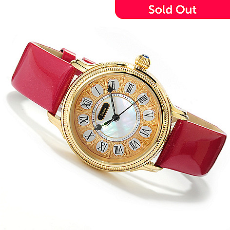 621-755 - Stauer Women's Parisian Quartz Mother-of-Pearl Stainless Steel Leather Strap Watch