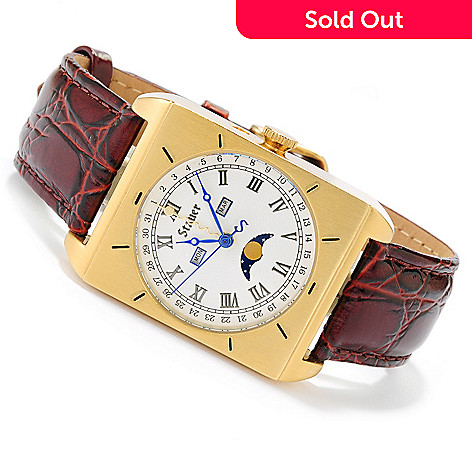 621-759 - Stauer Men's 1945 Leman Quartz Stainless Steel Leather Strap Watch