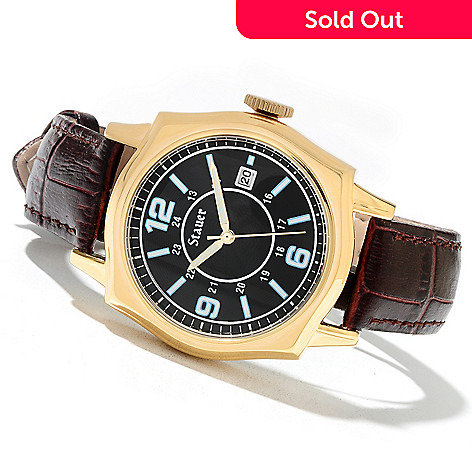 621-763 - Stauer Men's Lexington Quartz Genuine Leather Strap Watch